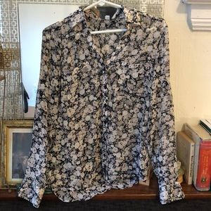 Sheer floral express button down
